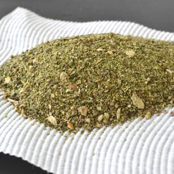 Steve's Garlic and Herbs Seasoning scooped onto a piece of paper